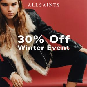 AllSaints 30% off Winter Promotion, Bluewater, Kent