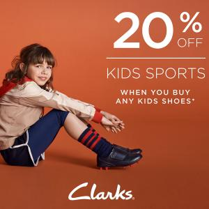 20% off Kids Sports at Clarks, Bluewater, Kent