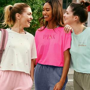 Pink Girlfriend Cropped Tee, Lace Halter & Classic Jogger, Bluewater, Kent