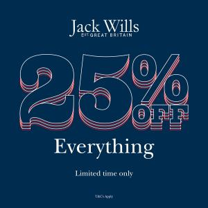 25% off everything at Jack Wills, Bluewater, Kent