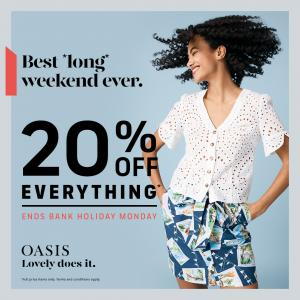 20% off everything at Oasis, Bluewater, Kent
