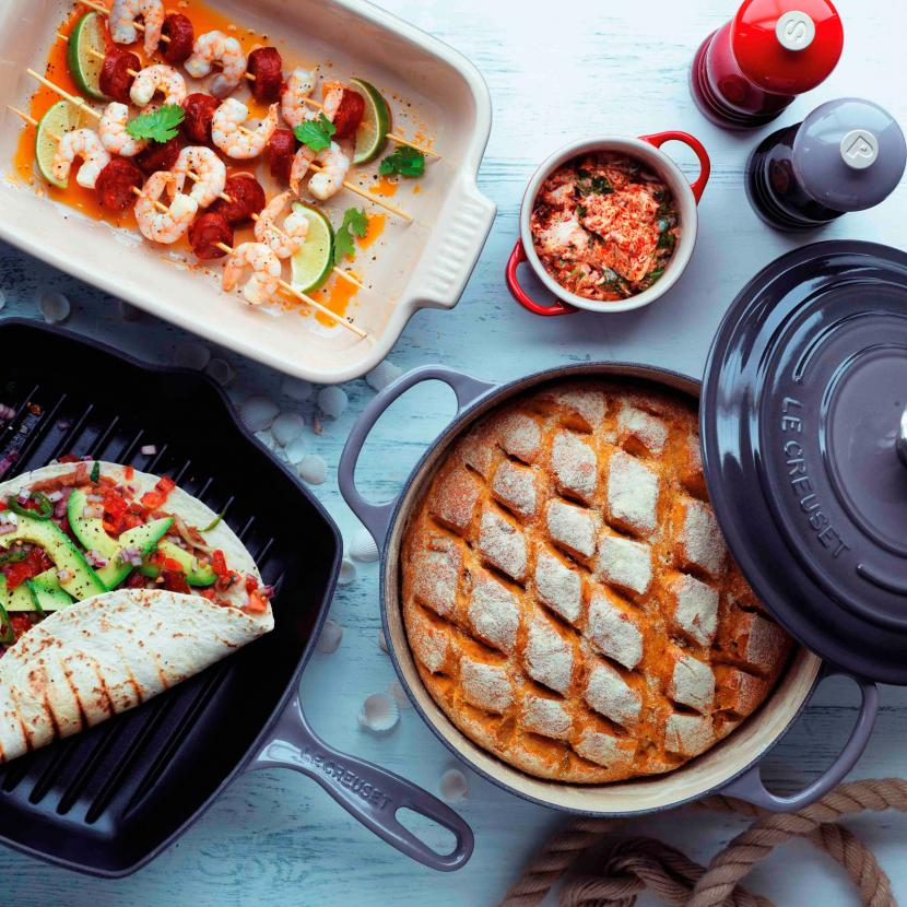 Le Creuset kitchen accessories, cast iron cookware, utensils and bakeware at Bluewater, Kent