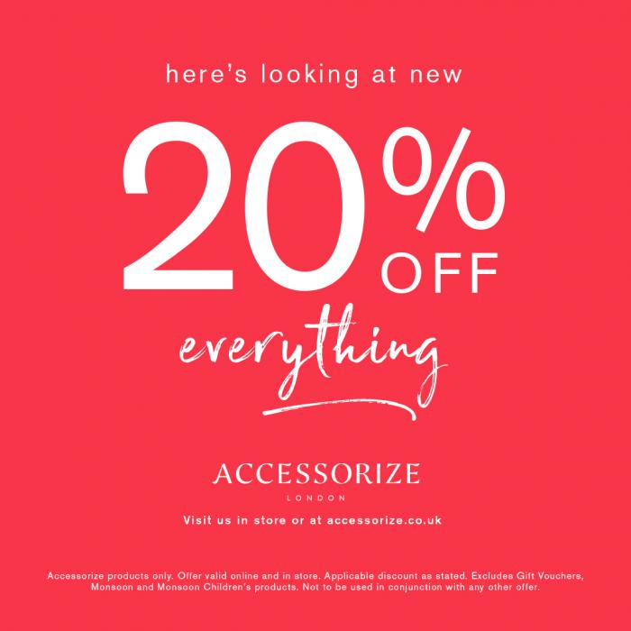 20% off everything at Accessorize, Bluewater, Kent