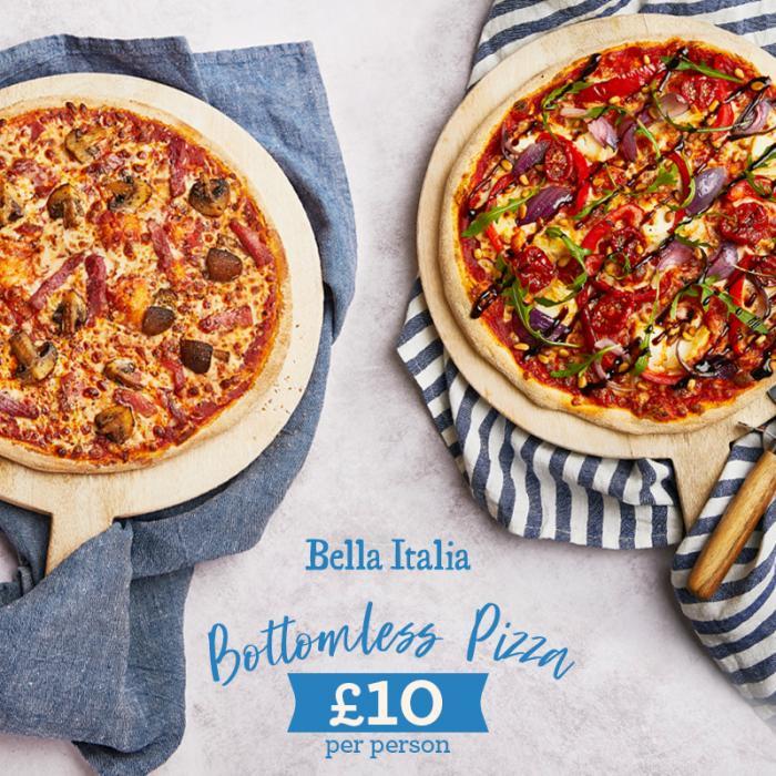 Bottomless pizza and prosecco at Bella Italia