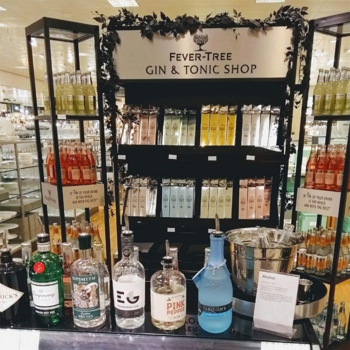 Fever-Tree tonic perfect pairings bar at John Lewis & Partners, Bluewater, Kent