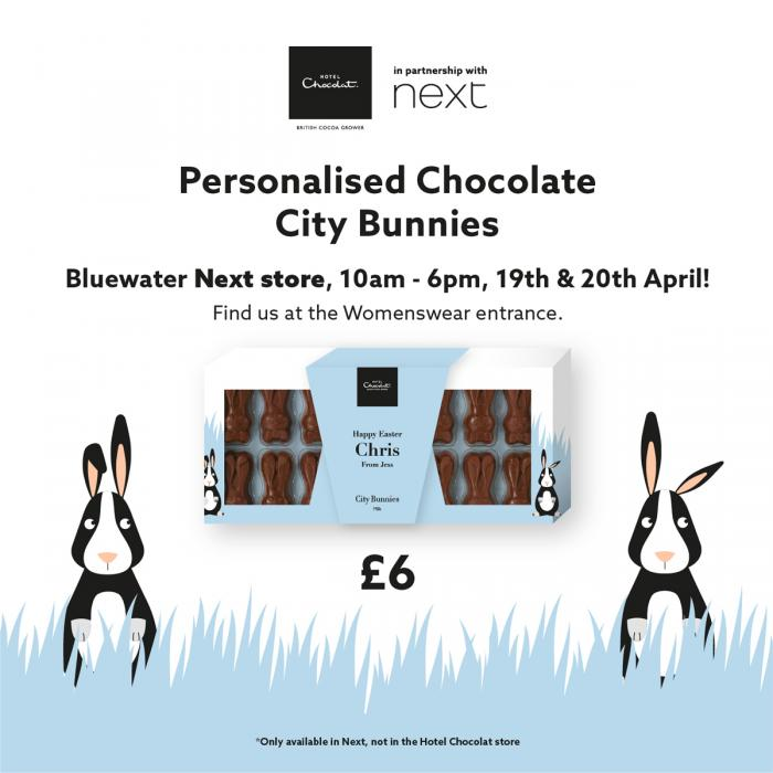 Personalised Hotel Chocolat City Bunnies at Next, Bluewater, Kent