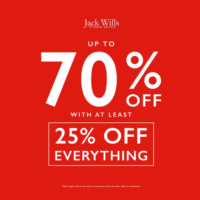 Up to 70% off With Atleast 25% Off Everything at Jack Wills, Kent, Bluewater