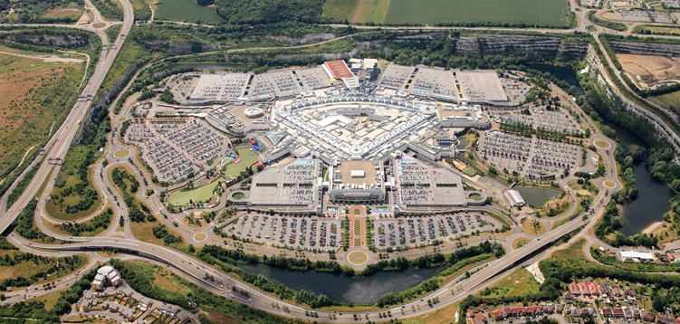 Aerial photo of Bluewater Shopping and Leisure destination in Kent.