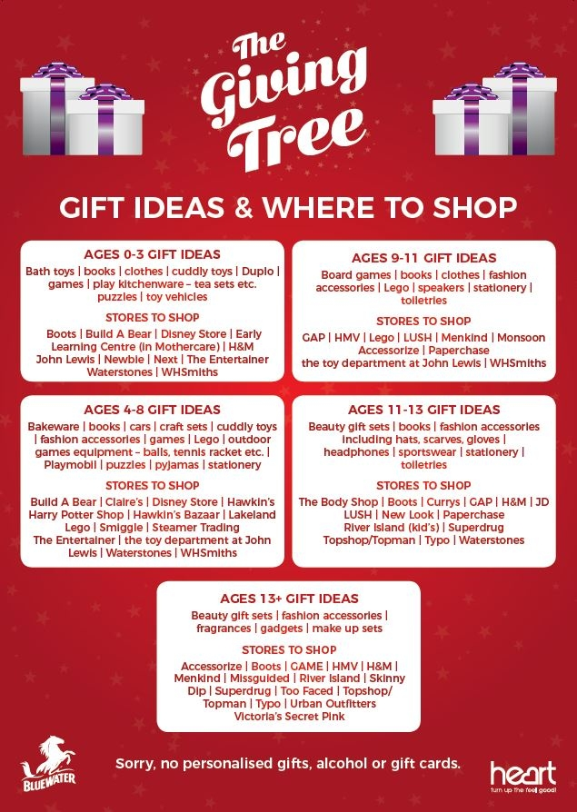 The giving tree gift ideas, Bluewater, Kent