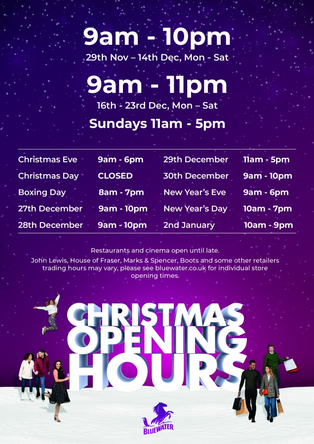 Christmas Opening Hours, Bluewater, Kent