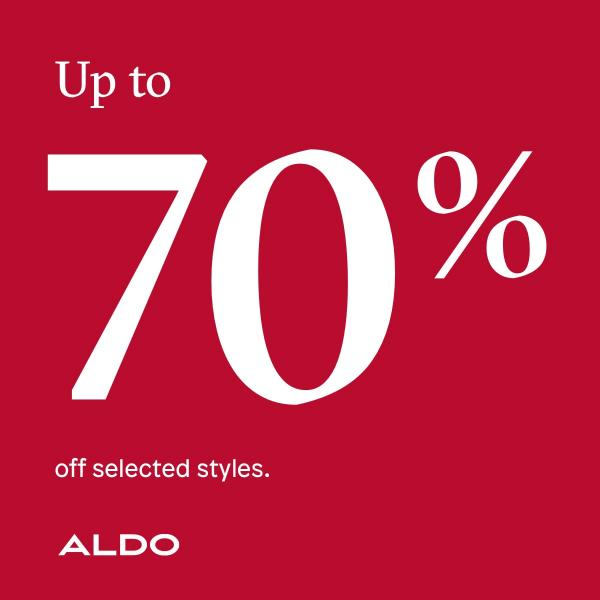 Up to 70% off at Aldo, Kent, Bluewater