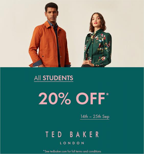 Students can currently save 20% at Ted Baker
